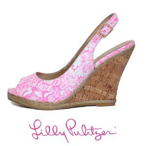 Lilly Pulitzer Size 9.5 Pink Print Leather Wedges